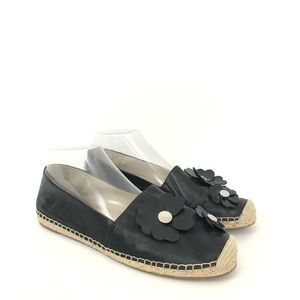 Michael Kors 8.5 Black Leather Kit Espadrille Flat